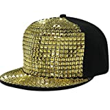 HAMANY Plastic Stud Rivet Spikes Flat Hat Hip-hop Baseball Cap Adjustable,Black Gold