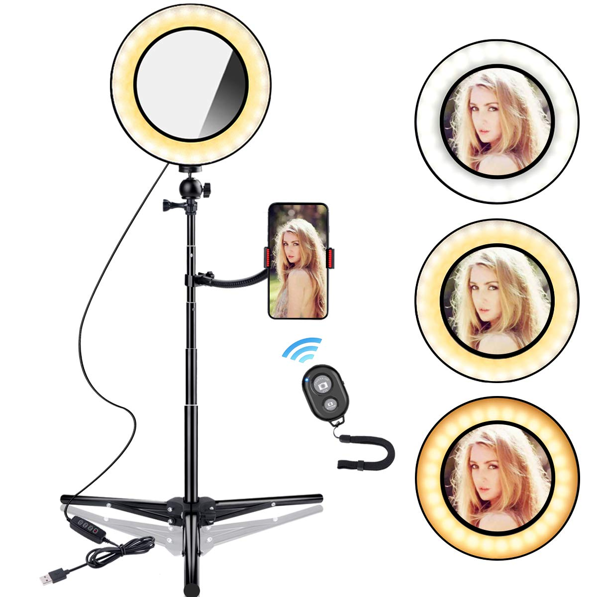 B-Land 7.9'' Ring Light with Tripod Stand & Phone Holder for YouTube Videos, LED Camera Selfie Light Ring with Remote, Vanity Makeup Lights with Mirror, 3 Modes & 10 Brightness by B-Land