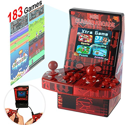 Upgraded Mini Arcade Game Machine Retro Handheld Console Portable for Kids Adults Family Boys, 183 Video Basketball Classic Game 2 Joystick Player 2.8
