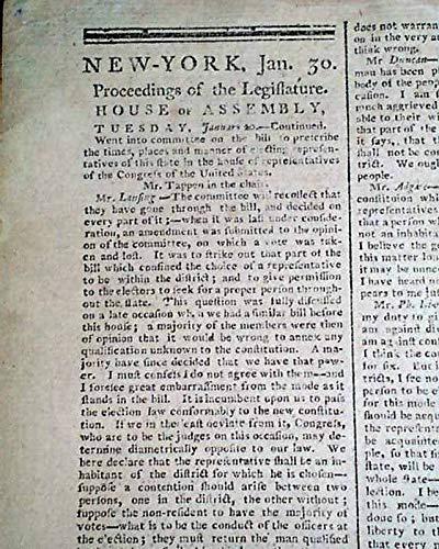 Advertiser Daily Newspaper (NEW YORK CITY Nation's Capital Pre George Washington Inauguration 1789 Newspaper THE DAILY ADVERTISER, New York, Jan. 30, 1789)