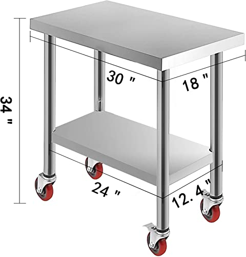 Mophorn 30x18x34 Inch Stainless Steel Work Table 3-Stage Adjustable Shelf