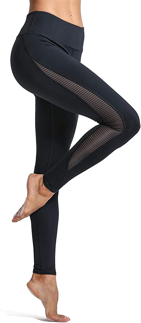 CRZ YOGA Womens Sports 4-Way-Stretch Mesh Tights Workout Yoga Leggings -28 Inches