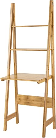 SoBuy® Estantería en forma de escalera con escritorio. Composición: bambú. FRG60-B-N, IT: Amazon.es: Hogar