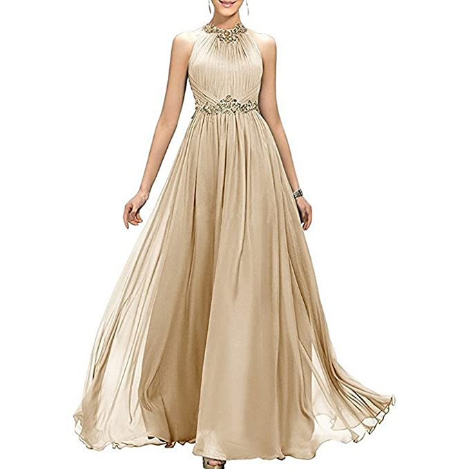 Review MEILISAY Women's High Neck Beaded Bridesmaid Dress Long Evening Gown Chiffon Prom Dress