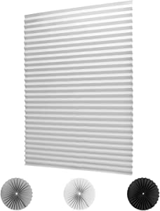 """LUCKUP 2 Pack Cordless Light Filtering Pleated Fabric Shade,Easy to Cut and Install, with 4 Clips (36""""x72""""- 2 Pack, White)"""
