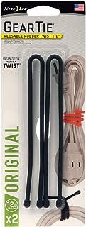 "product image for Nite Ize GT12-2PK-01 Original Gear, Reusable Rubber Twist Tie, 12"" - 2-Pack, Black"
