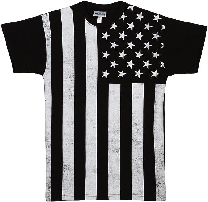 Bandera de Estados Unidos envejecido negro y blanco adulto camiseta: Amazon.es: Ropa y accesorios