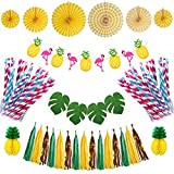 Antner Summer Party Decorations Kit Flamingo Pineapple Banner Paper Tassels Paper Flower Fan Tropical Palm Leaf for Hawaiian Luau Jungle Beach Party Decor