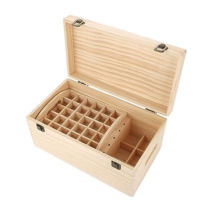 Caja de almacenamiento de madera de aceite esencial, 2 bandejas extraíbles Cofre de exhibición para