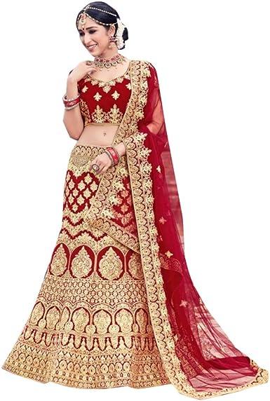 8529 Red Bridal Lehenga Choli Gharara Dupatta Skirt Falda Set ...