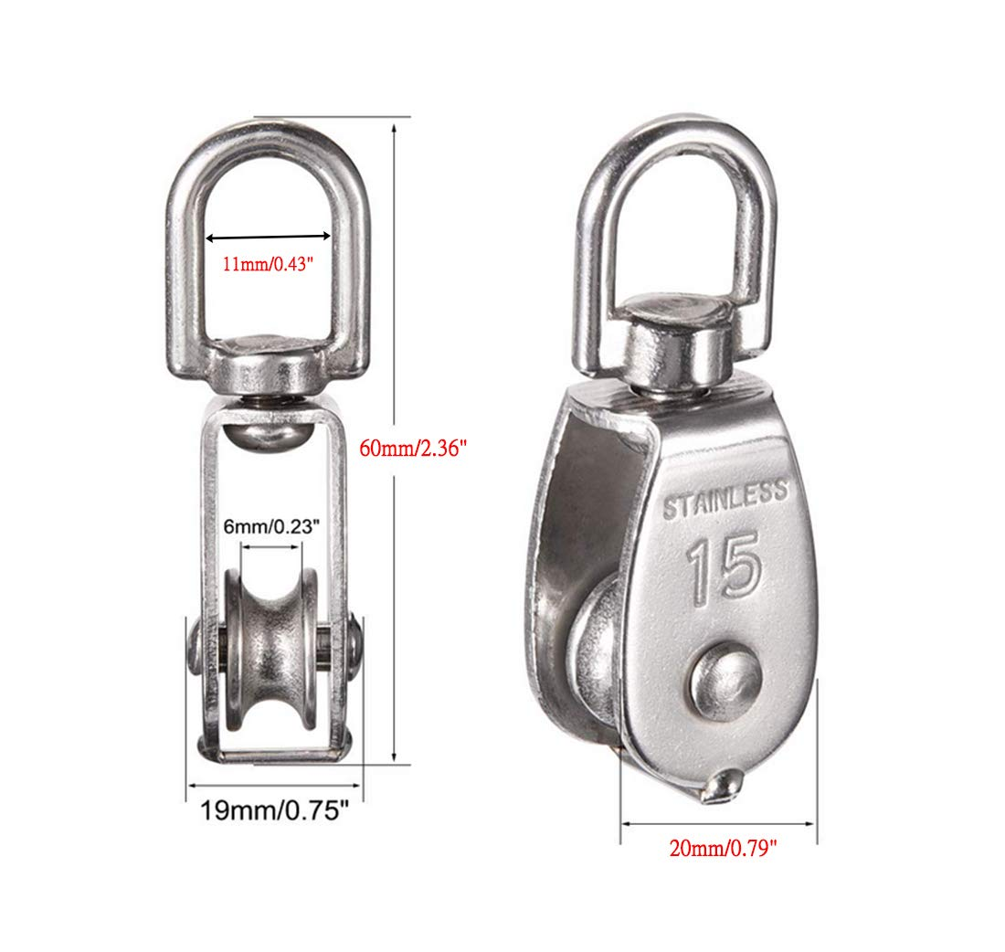 Convenient to use Repuhand 4Pcs Single Pulley Block 304 Stainless Steel Pulley can Rotation to Prevent Rope from Knotting Silver M15