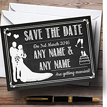 Chalkboard White Personalized Wedding Save The Date Cards