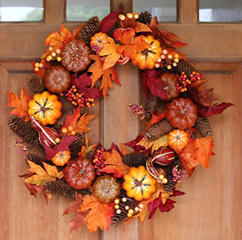 Woodbury Pumpkin Harvest Silk Fall Front Door Wreath - 22 Inches - Handcrafted With Silk Maple Foliage, Berries, And Mini Pumpkins - Display Outdoors For Autumn and (Fall Front Door)