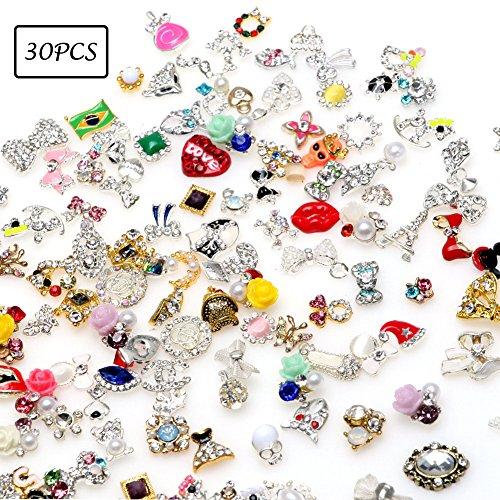 Lookathot 10/20/30PCS 3D Mixed Design Nail Art Stickers Decals Metallic Gold Silver Studs Flowers Skull Rhinestones Diamonds Pearls Drills Alloy Manicure DIY Decoration Tools (30PCS(Random Sent)) -