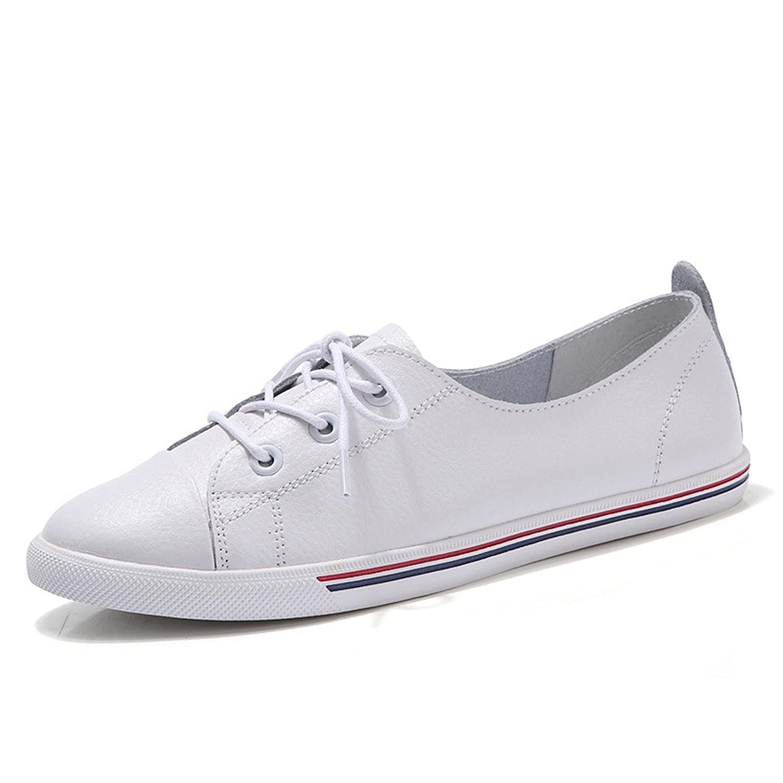 Genuine Leather Women Flats White Soft Soled Toy Preppy Style Lace up Vulanizeed Shoes Flat Shoes B078SMH5LR 9.5 B(M) US|White