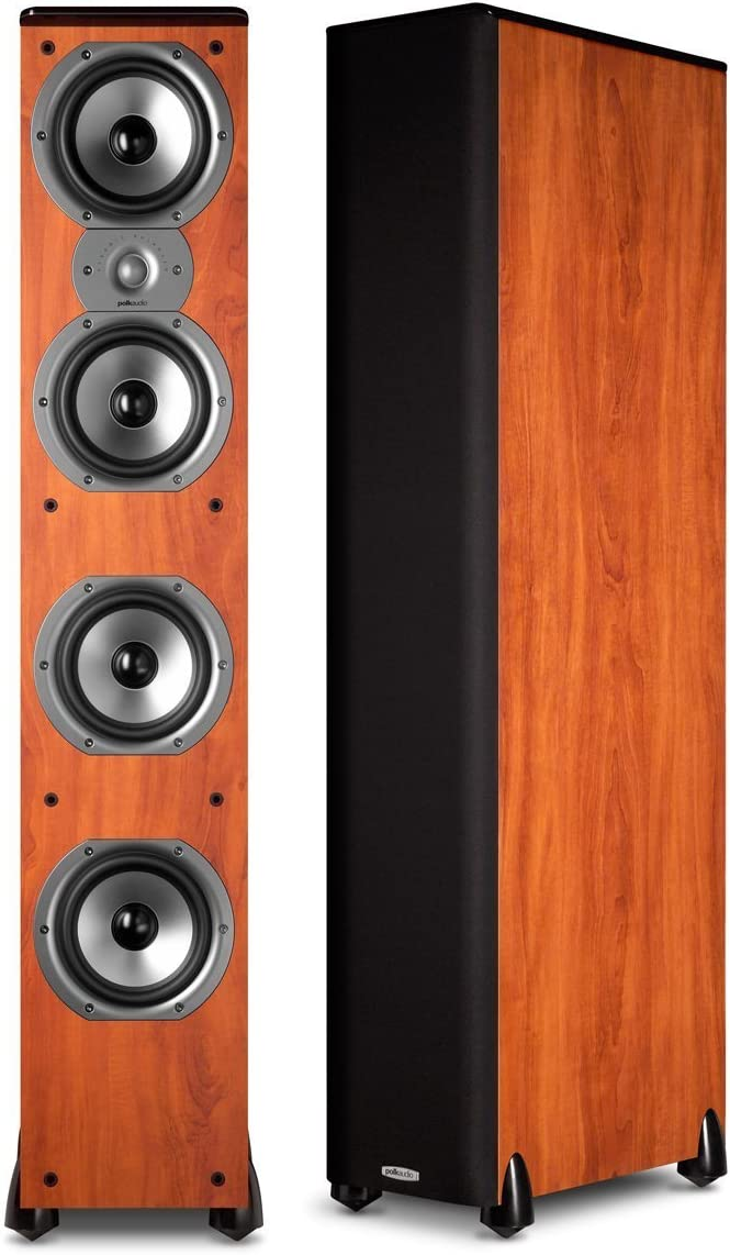 Polk Audio TSi400 Floorstanding Speaker Single, Cherry 1 Pair Bundle