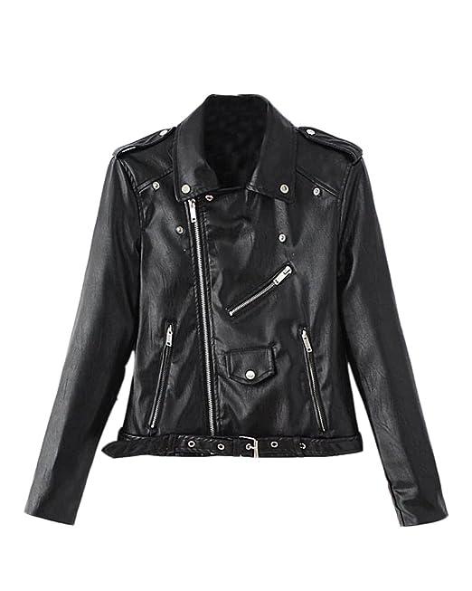 SaiDeng Mujer Chaqueta Moto Delgado Ajuste Zip Pu Cuero Biker Jacket: Amazon.es: Ropa y accesorios