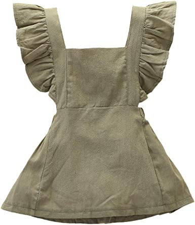 Jarsh Infant Baby Girl Soft Cotton Ruffled Dress Clothes Bowknot Backless Solid Casual Dress