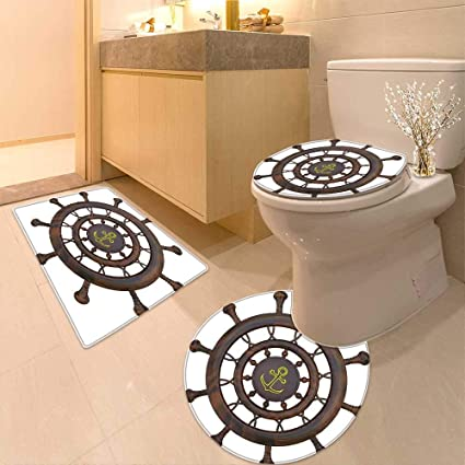 Amazon.com: Printsonne Lid Toilet Cover Decor Wooden Steering Wheel ...