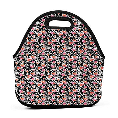 for Womens Mens Boys Girls Abstract,Paisley Style Pattern of Water Splashes Ombre Motifs with Floral Influences,Coral Pink Black,girly lunch bag for girls
