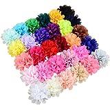 30colori Chiffon fiori, fiocchi per capelli clip per bambina Teen