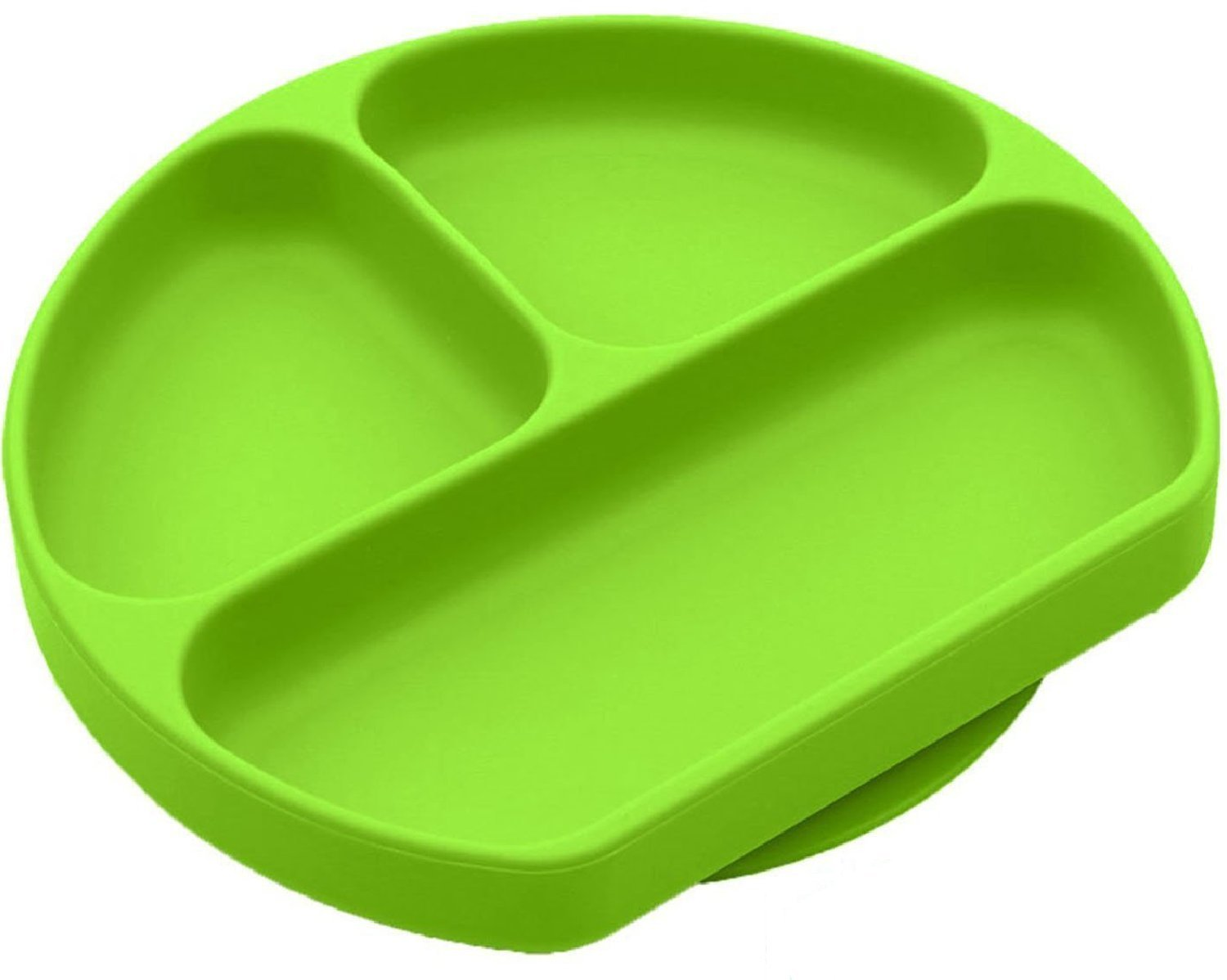 SiliKong Silicone Suction Plate for Toddlers, Fits Most Highchair Trays, BPA Free, Divided Baby Feeding Bowls Dishes for Kids (Green) by SiliKong (Image #1)