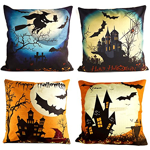 (KUUQA 4Pcs Happy Halloween Linen Pillow Case Cover, Decorative Throw Pillow Cover Cushion Case with Spider/Moon/Bat for Halloween Party Favors Supplies(Pillow Inner not)