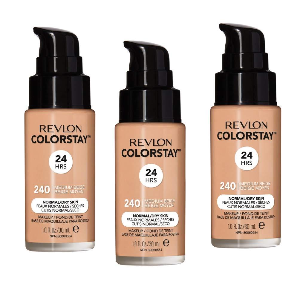 Pack of 3 Revlon ColorStay Makeup for Normal/Dry Skin Skin SPF 20, Medium Beige (240)