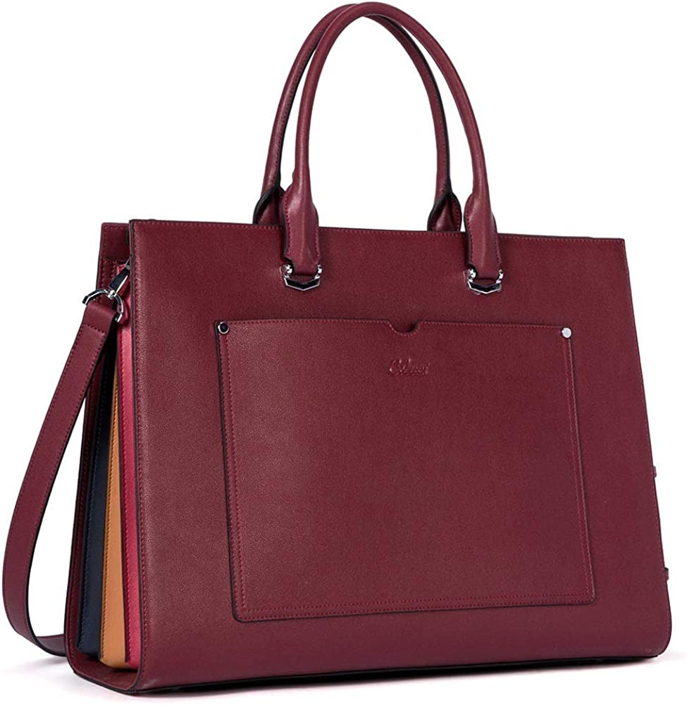 CLUCI Briefcase for Women Leather Business Slim 15.6 Inch Laptop Shoulder Bag Wine Red