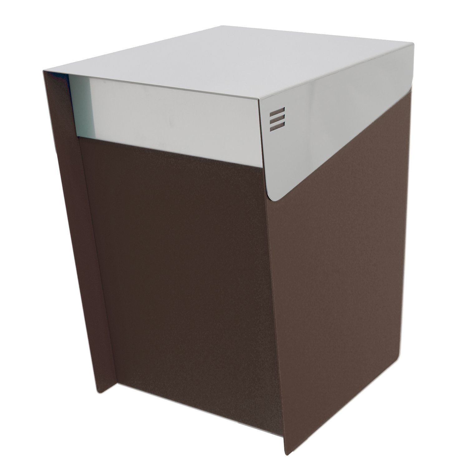 KATANABOX Mega - Stainless Steel Post Mount Modern Design Mailbox with lock and key extra large Letterbox Rust Proof for Modern Home House Apartment Rural Roadside 16'' x 11'' x 13'' (Chocolate Brown)