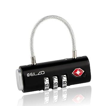 ELZO Candado Combinacion, Candado Maleta para Equipaje, Candado TSA, Candados de Seguridad con Cierre de Cable, Negro: Amazon.es: Equipaje
