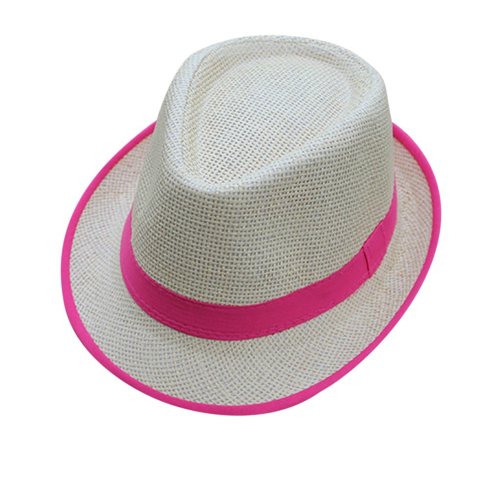 b3486b674a8b2a Amazon.com : Xlala Unisex Cap Men Women Beach Straw Hat Jazz Panama Hat  Gangster Cap Hat Side Color Matching Personality Novelty Hat Outdoor Caps  (Black) ...