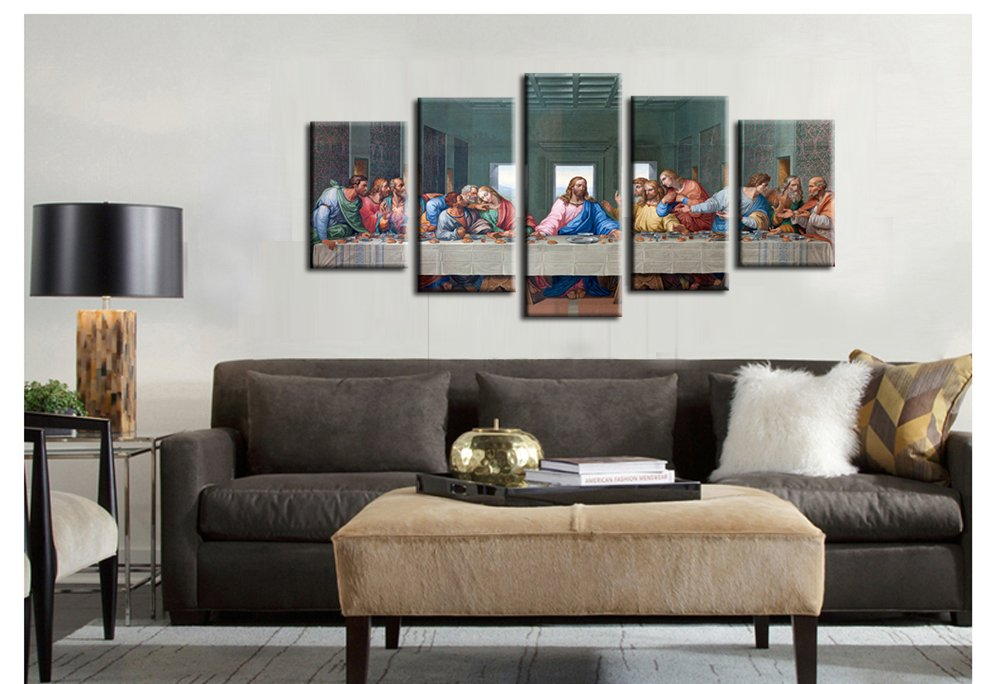 Jingtao Art 1 Jesus The Last Supper Wall Art Painting Canvas Prints Home Decoration in 5 Pieces,Stretched-Ready to Hang (8x12inchx2+8x16inchx2+8x20inch) White by Jingtao Art (Image #3)