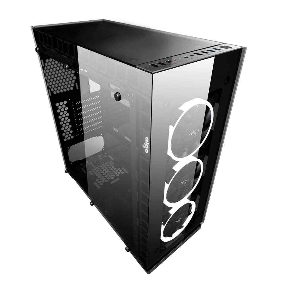 Aigo CRYSTAL ATX Mid Tower Dual Tempered Glass Panels Gaming Computer PC Case USB 3.0 Ports w/ 5 RGB Color Changing LED Ring Lights Fans and Controller Pre-Installed by Aigo (Image #2)