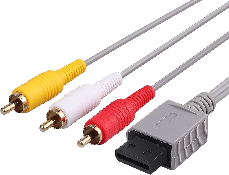 Neoteck Wii / Wii U AV Cable 1.8M Composite Retro 3 RCA enchapado en oro Audio Video AV Cable estándar para Nintendo Wii Wii U