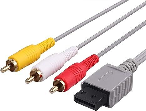 Neoteck Wii / Wii U AV Cable 1.8M Composite Retro 3 RCA enchapado en oro Audio Video AV Cable estándar para Nintendo Wii Wii U: Amazon.es: Videojuegos