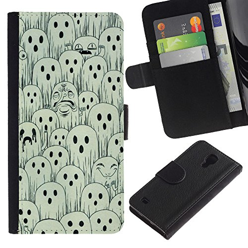 For SAMSUNG Galaxy S4 IV / i9500 / i9515 / i9505G / SGH-i337,S-type® White Black Spooky Halloween - Drawing PU Leather Wallet Style Pouch Protective Skin (Spooky Drawings For Halloween)
