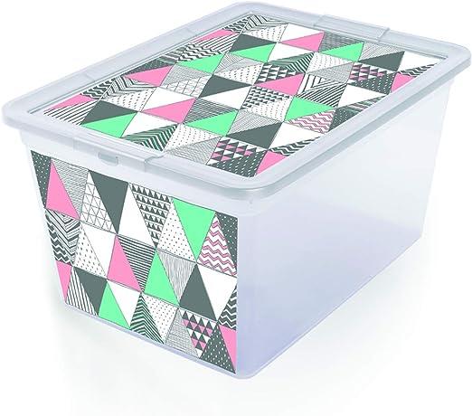 Branq X Box - Caja Decorativa con Tapa, Organizador, 30L Dreiecke: Amazon.es: Hogar