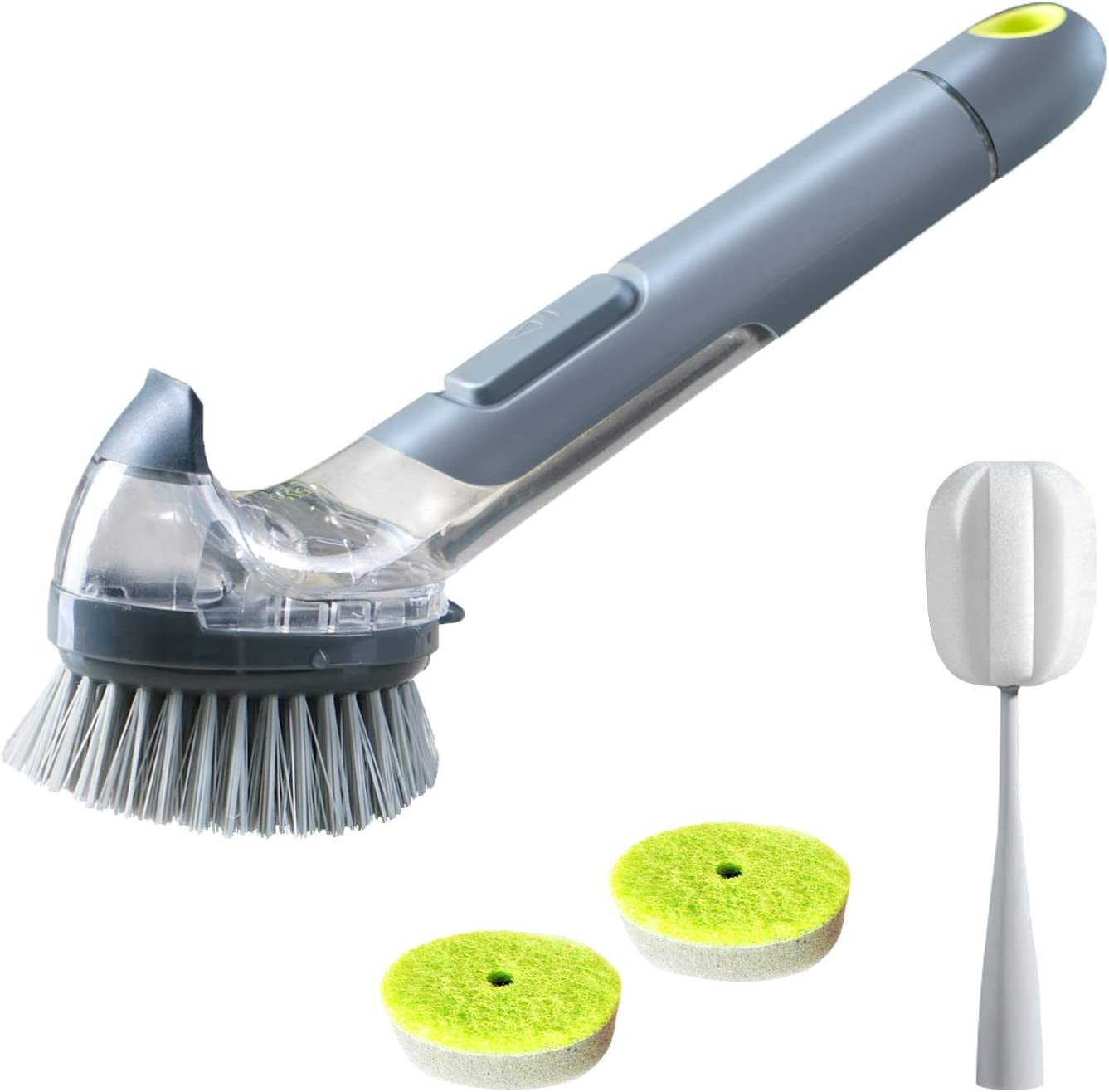 JEHONN Dish Brush with Soap Dispenser Pot Scrubber Kitchen Sink Pan Brush, Bottle Brush and 2 Sponge Refill