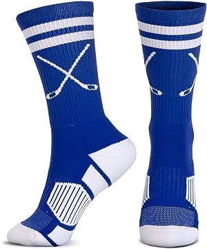 ChalkTalkSPORTS Hockey Half Cushioned Crew Socks | Crossed Sticks | Multiple Colors