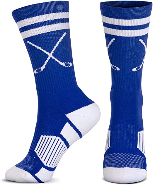 ChalkTalkSPORTS Hockey Half Cushioned Crew Socks | Crossed Sticks | Multiple Colors