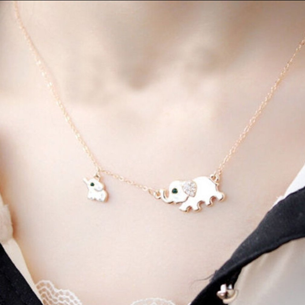 GUAngqi Cute Lucky Elephant Pendant Necklace Women Charming Crystal Chain Necklace Chocker Necklace
