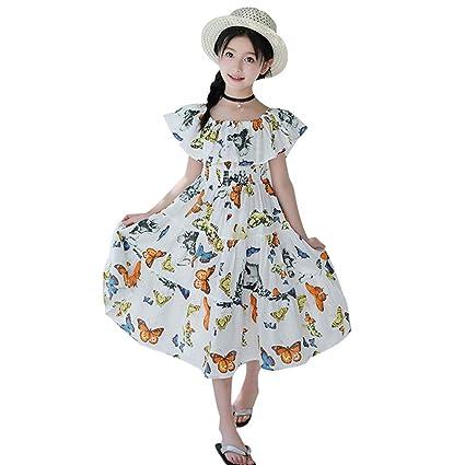 Bibao Vestido de Mariposa para niñas con Volantes Marrones y ...