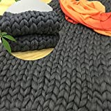 OUYAJI Ultra-coarse and Large Knitted Throw Chunky Sofa Blanket Pure Hand-woven Pet Bed Chair Yoga Mat Rug Dark grey 11