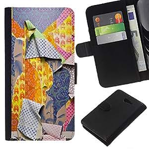 KLONGSHOP // Tirón de la caja Cartera de cuero con ranuras para tarjetas - Patrones Ripped Moda Profunda - Sony Xperia M2 //
