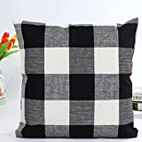 Pillowcase, Zulmaliu Lattice Pillow Cases Geometric Embroidered 18 X 18 Inches (Black)