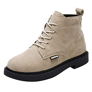 0b39489914 Anglewolf Women Square Heel Shoes Boot Suede Lace-Up Solid Color Round Toe  Womens Lining