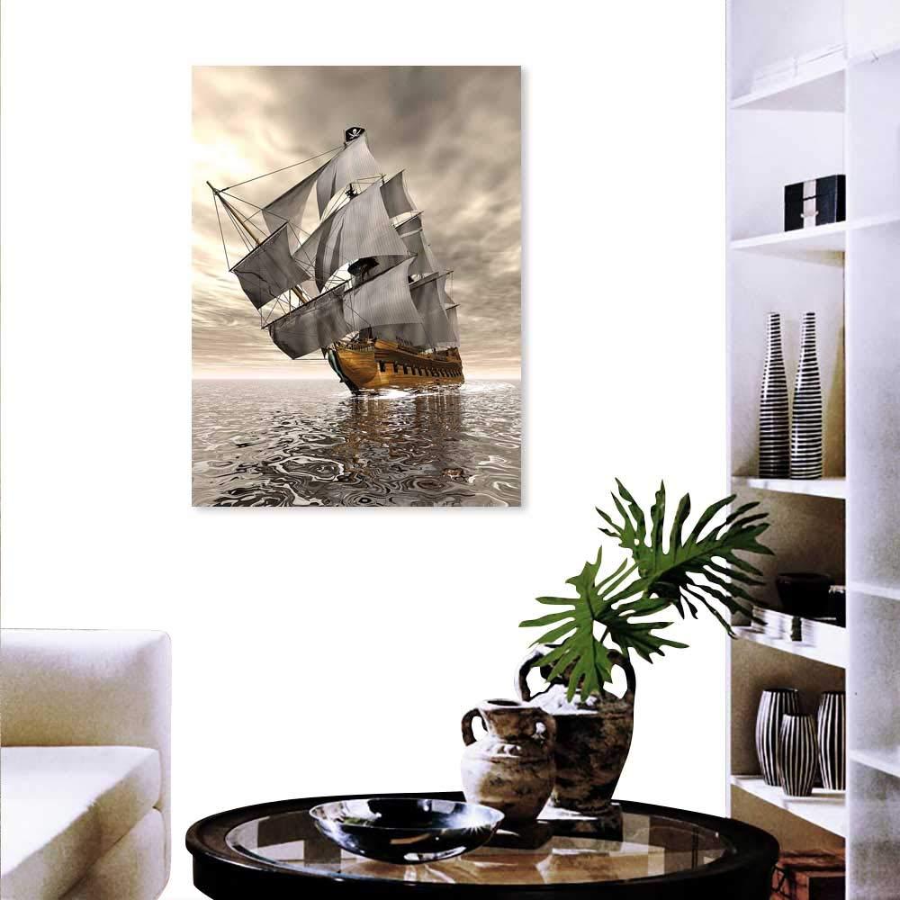 Anyangeight オーシャンモダンキャンバス絵画 ウォールアート 3Dスタイル 海の船 歴史的な船 雲 空 航海 探検 テーマ アートワーク 壁装飾 グレーペール コーヒー 32