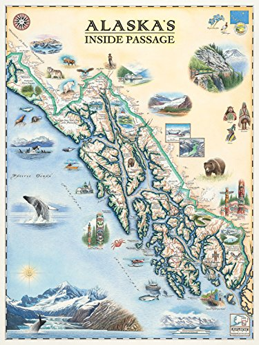 Hand Drawn Map - Inside Passage of Alaska Map Wall Art Poster - Authentic Hand Drawn Maps in Old World, Antique Style - Art Deco - Lithographic Print