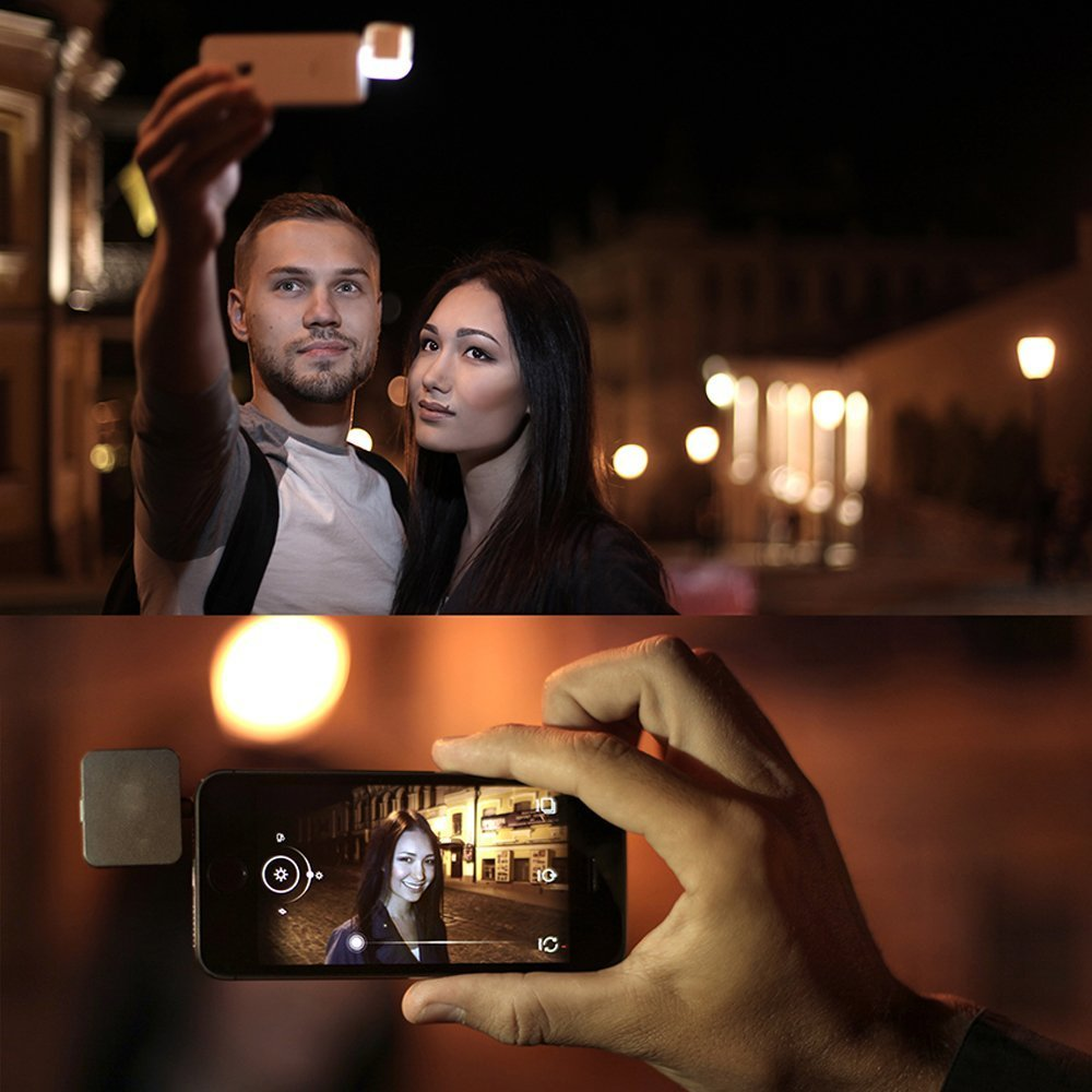 White Efanr Portable Mini 16 LED Dimmable Light Cellphone Camera Flash Fill-in Light Pocket Spotlight Photo Video Light Lamp Speedlite for Android Smartphone and Tablets Camera